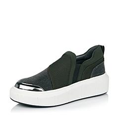millie's/妙丽秋专柜同款深绿/黑银时尚拼接休闲女单鞋LE628CM6