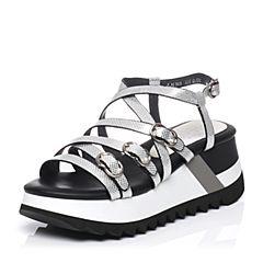 Millie's/妙丽夏季专柜同款银色羊皮凉鞋LH501BL6