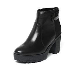 millie's/妙丽冬季专柜同款黑色牛皮女皮靴LK243DD6