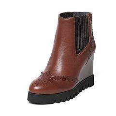 millie's/妙丽冬季专柜同款牛皮镂花切尔西坡跟女短靴LJ242DD6