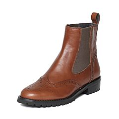millie's/妙丽冬季专柜同款牛皮时尚切尔西方跟女短靴LZW45DD6