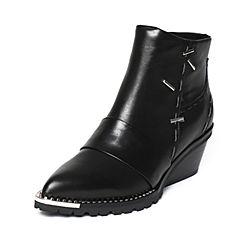 millie's/妙丽冬季专柜同款牛皮时尚粗跟女短靴LK940DD6