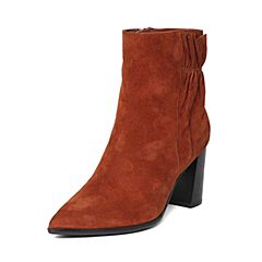 millie's/妙丽冬季专柜同款羊皮绒面时尚优雅高跟女短靴LH643DD6