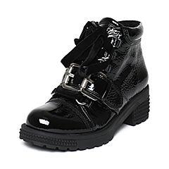 millie's/妙丽冬季专柜同款漆牛皮时尚休闲方跟女短靴LXF48DD6