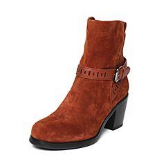 millie's/妙丽冬季专柜同款红棕色羊皮女皮靴LQE58DD6