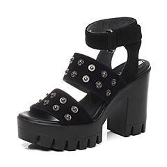Millie's/妙丽夏款专柜同款羊皮绒女凉鞋LG104BL6