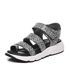 Millie's/妙丽夏款专柜同款牛皮女凉鞋LG606BL6