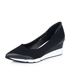 millie's/妙丽秋专柜同款弹力布面时尚坡跟女浅口单鞋LB901CQ6