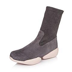 millie's/妙丽冬专柜同款羊绒弹力布休闲女中靴(皮里)LC461DZ6
