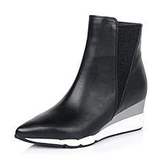 millie's/妙丽冬专柜同款牛皮时尚坡跟女短靴(皮里)LB940DD6