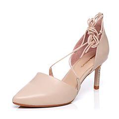 millie's/妙丽专柜同款牛皮交叉绑带时尚高跟女单鞋LMQ39AK7