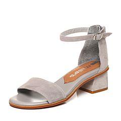millie's/妙丽夏季专柜同款羊绒一字型粗跟女凉鞋LN404BL7