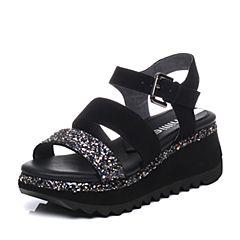 millie's/妙丽夏季专柜同款羊皮亮片女凉鞋LH507BL7(领红包更优惠)
