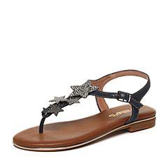 millie's/妙丽夏季专柜同款饰扣牛皮平底女凉鞋LLR22BL7