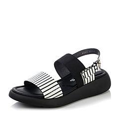 Millie's/妙丽2017夏款新品条纹压花牛皮女凉鞋LGS16BL7