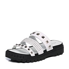 millie's/妙丽夏季专柜同款牛皮铆钉时尚女凉拖鞋88181BT7