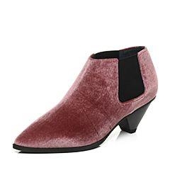 millie's/妙丽2017秋专柜同款绒布锥跟踝靴女单鞋LP320CM7