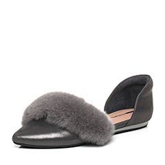 millie's/妙丽秋季专柜同款羊皮兔毛中空女凉鞋LZM46CK7