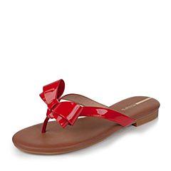 millie's/妙丽夏季新款牛皮蝴蝶结夹趾平底女凉拖鞋LLR53BT7