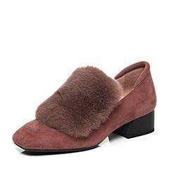 millie's/妙丽2017秋专柜同款羊绒/兔毛方跟女单鞋LP422CM7