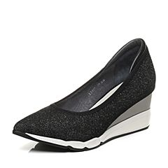 millie's/妙丽秋季新款牛皮亮线布坡跟女浅口单鞋LB917CQ7