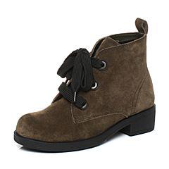 millie's/妙丽冬季专柜同款牛皮绒面时尚方跟女短靴LCC54DD7