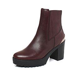millie's/妙丽冬季专柜同款牛皮时尚粗跟女短靴LK244DD7