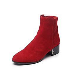 millie's/妙丽冬季专柜同款羊绒时尚粗跟女短靴LQ842DD7