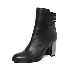 millie's/妙丽冬季专柜同款羊皮时尚粗跟女短靴LR840DD7