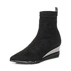 millie's/妙丽冬季专柜同款弹力绒布时尚坡跟女短靴LB945DD7