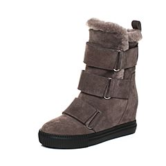 millie's/妙丽冬季专柜同款牛皮时尚女中靴(毛里)LJ865DS7