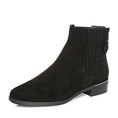 millie's/妙丽冬专柜同款羊绒时尚切尔西方跟女短靴LR340DD7