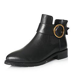 millie's/妙丽2017冬专柜同款牛皮时尚方跟女短靴Q5264DD7
