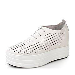 millie's/妙丽秋季新款牛皮镂空厚底女休闲鞋H6088CM7