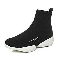 millie's/妙丽冬季新款牛皮时尚袜靴休闲女短靴LC442DD7