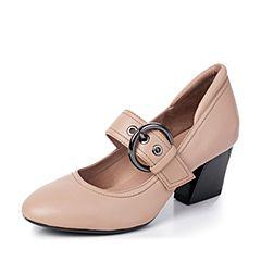 millie's/妙丽秋季新款羊皮玛丽珍粗跟女单鞋LB509CQ7