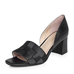 millie's/妙丽2018春专柜同款牛皮/沙丁布面高跟女凉鞋LS605AK8