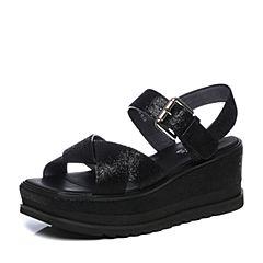 millie's/妙丽2018夏专柜同款牛皮时尚坡跟女凉鞋LV301BL8