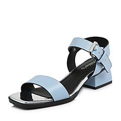 millie's/妙丽2018夏专柜同款牛皮时尚方跟女凉鞋LU804BL8