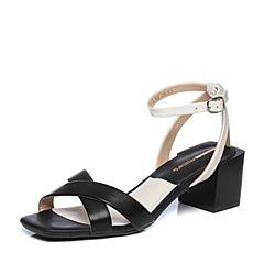 millie's/妙丽2018夏专柜同款牛皮时尚粗跟女凉鞋LT905BL8
