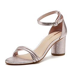 millie's/妙丽2018夏专柜同款牛皮时尚粗跟女凉鞋LT706BL8(领红包更优惠)