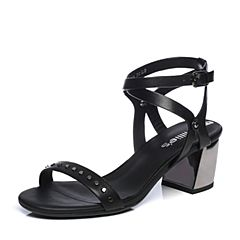 millie's/妙丽2018夏专柜同款牛皮时尚粗跟女凉鞋LM506BL8