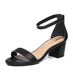 millie's/妙丽2018夏专柜同款牛皮时尚粗跟女凉鞋LM507BL8