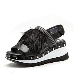 millie's/妙丽2018夏专柜同款羊皮羽毛厚底坡跟女凉鞋LH515BL8