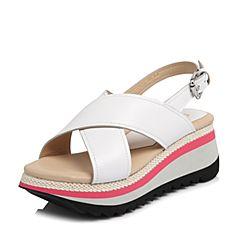 millie's/妙丽2018夏专柜同款羊皮时尚坡跟女凉鞋LH514BL8