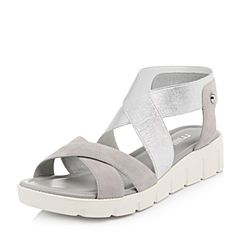 millie's/妙丽2018春专柜同款羊绒时尚休闲女凉鞋LF601BL8