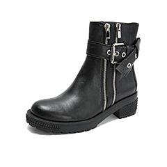 millie's/妙丽2018冬专柜同款羊皮休闲方跟女短靴LXF57DD8