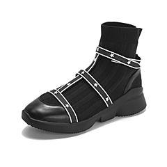 millie's/妙丽2018冬专柜同款牛皮布面休闲袜靴女短靴LW643DD8
