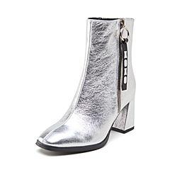 millie's/妙丽2018冬专柜同款牛皮时尚粗跟女短靴LV646DD8