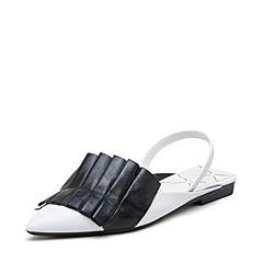 millie's/妙丽2019春专柜同款牛皮/羊皮时尚低跟女凉拖鞋LZ305AH9